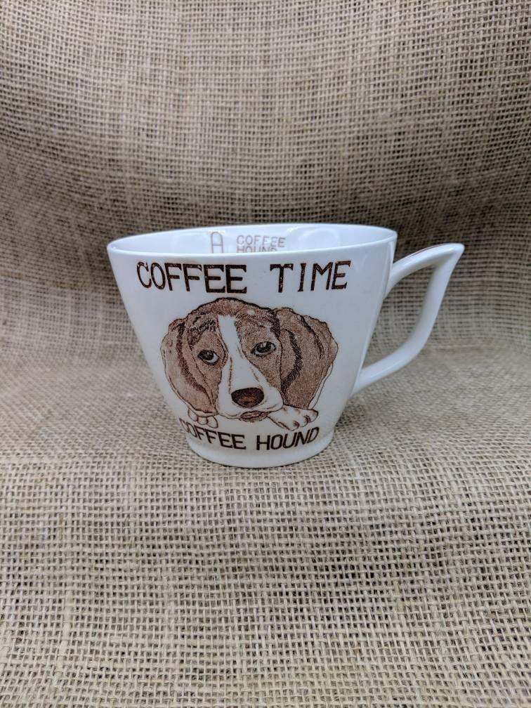 Coffee time coffee hound mug vintage ceramic mug with