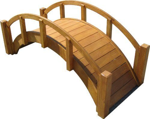 """SamsGazebos Decorative Japanese Wood Garden Bridge, 29""""L x 12-1/2""""H x 12-1/8""""W, Waterproofed, Assembled, Made in USA by SamsGazebos. $99.95. For decorative use only.  (Footbridges are also available in 4', 5', or 6' long on Amazon.). Gracefully arched Japanese garden bridges for any yard.. Made in the USA, superb workmanship, and labor of love.. Shipped assembled and great gift ideas.. Waterproofed and ready to finish or leave natural for a rustic look.. Create a pre..."""