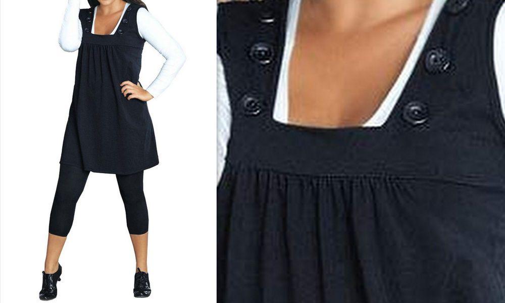 neu Übergröße schickes damen kleid in schwarz mit