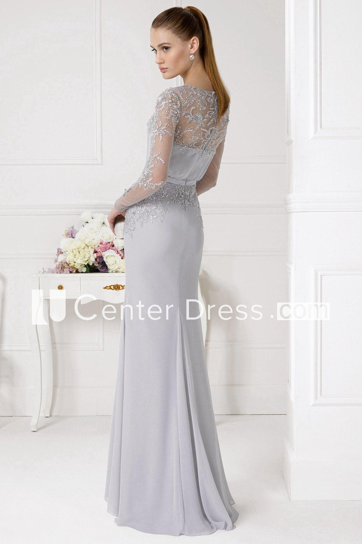 69dcf53731a8 Sheath Beaded Jewel Neck Illusion Sleeve Chiffon Prom Dress - UCenter Dress
