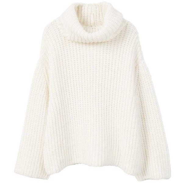cadeaddc83c Turtle Neck Sweater (3,390 PHP) ❤ liked on Polyvore featuring tops, sweaters,  white sweater, white turtleneck, knit turtleneck, long sleeve knit tops and  ...