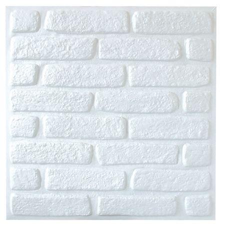 3d tijolinho branco revestimento alto relevo painel 3d for Placas de pvc para paredes