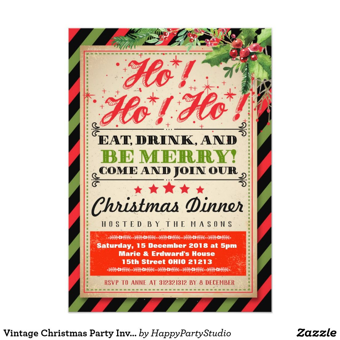 Vintage Christmas Party Invitation | Vintage christmas party
