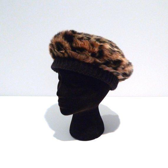 535f158da0d96 Leopard Beret 1990s Vintage Faux Fur Animal Print Cap   Hat with knitted  trim Spots Fake Fur Plush T