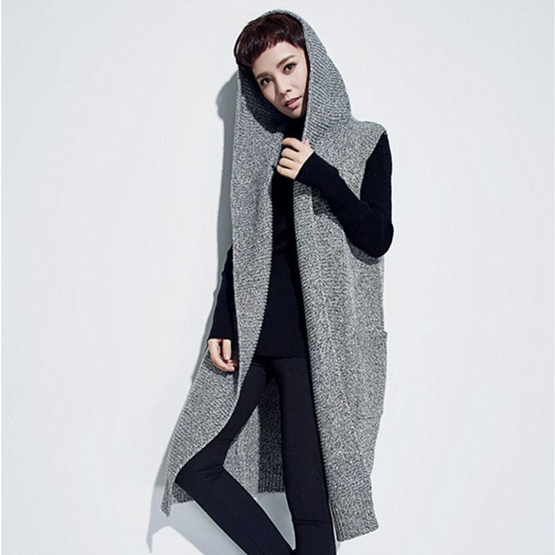 Elegant Long Sweater Vest Women Knitted Cardigan Sleeveless Hooded ...