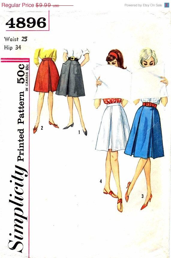 SALE 1960s Womens Pleated Flared Skirts Simplicity 4896 Vintage ...
