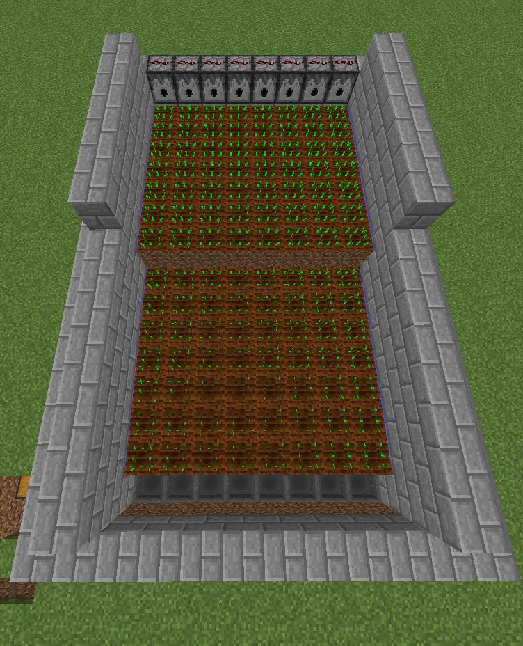 This Semi Automatic Farm Makes Harvesting Crops In Minecraft A Breeze Minecraft Farm Minecraft Creations Minecraft Blueprints