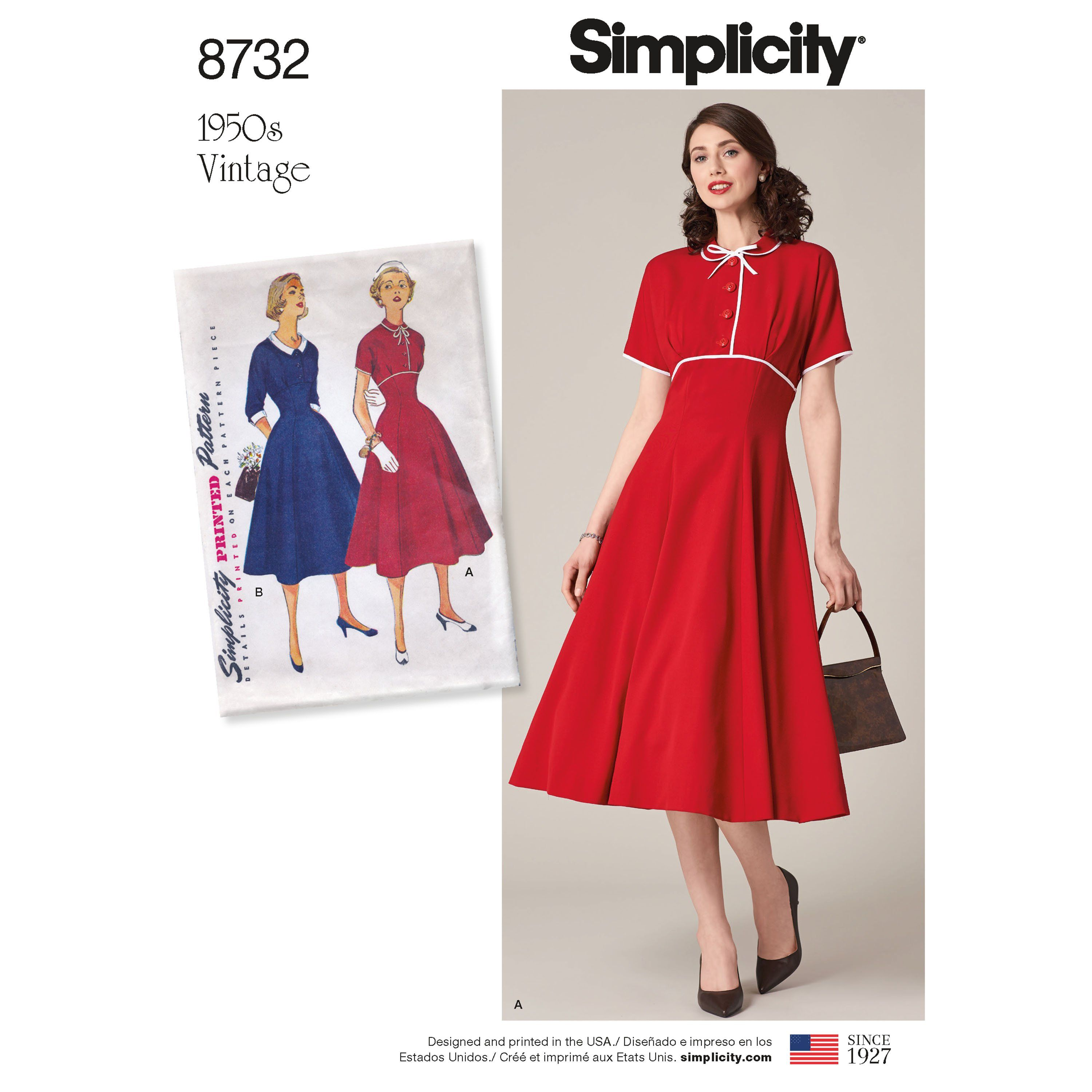 50s 1950s 1960s style B5748 repro vintage style Retro dress sewing pattern