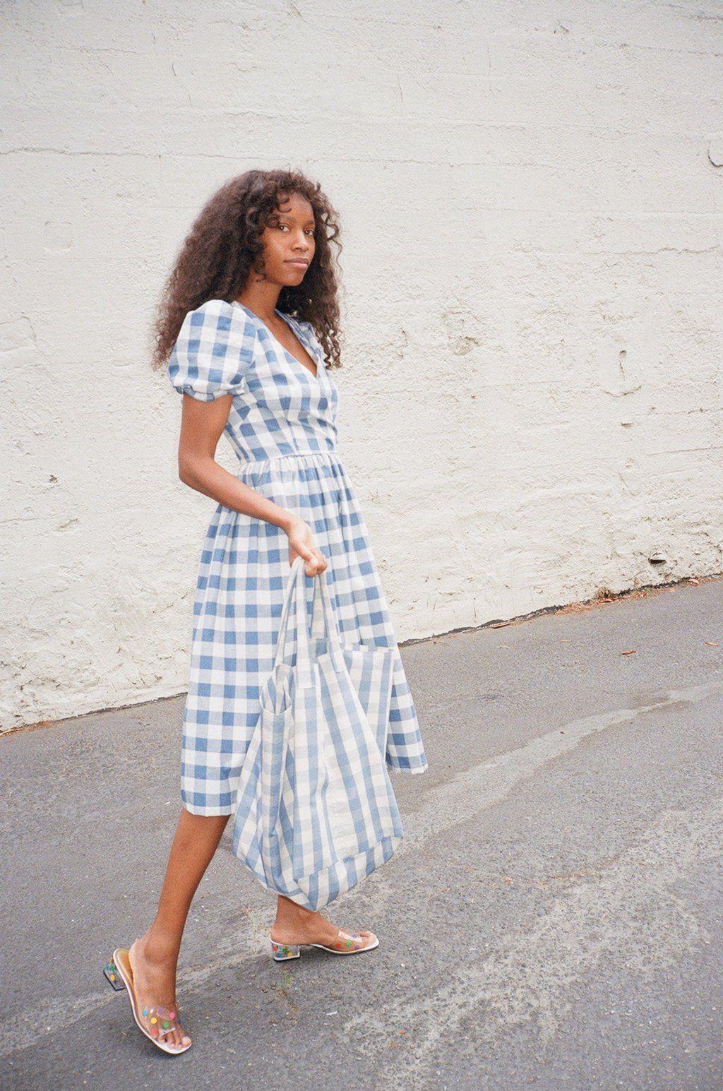 Topanga Midi Dress Denim And Ivory Gingham Dresses Summer Clothes Collection Fashion [ 1545 x 1024 Pixel ]