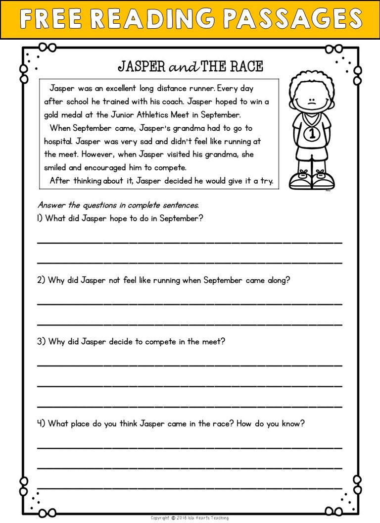 Second Grade Reading Comprehension Passages And Questions Free