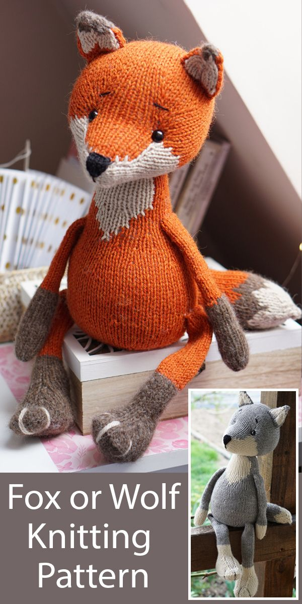 Knitting Pattern for Toy Fox or Wolf