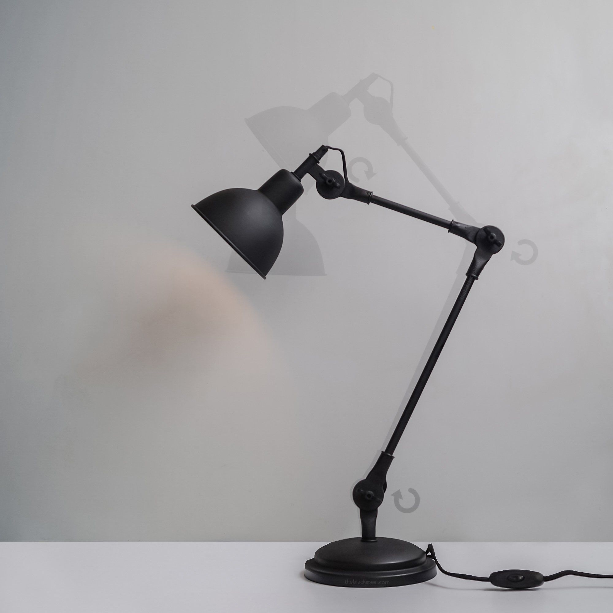 Coal Black Swing Arm Industrial Desk Lamp With Frosted Glass Cover