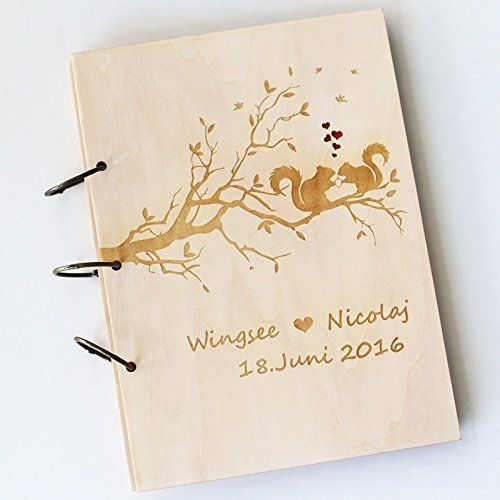 Wedding Tree With Squirrels Guest Book Wood Rustic