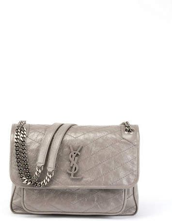 9febb0521c Saint Laurent Niki Medium Monogram YSL Shiny Waxy Quilted Shoulder ...