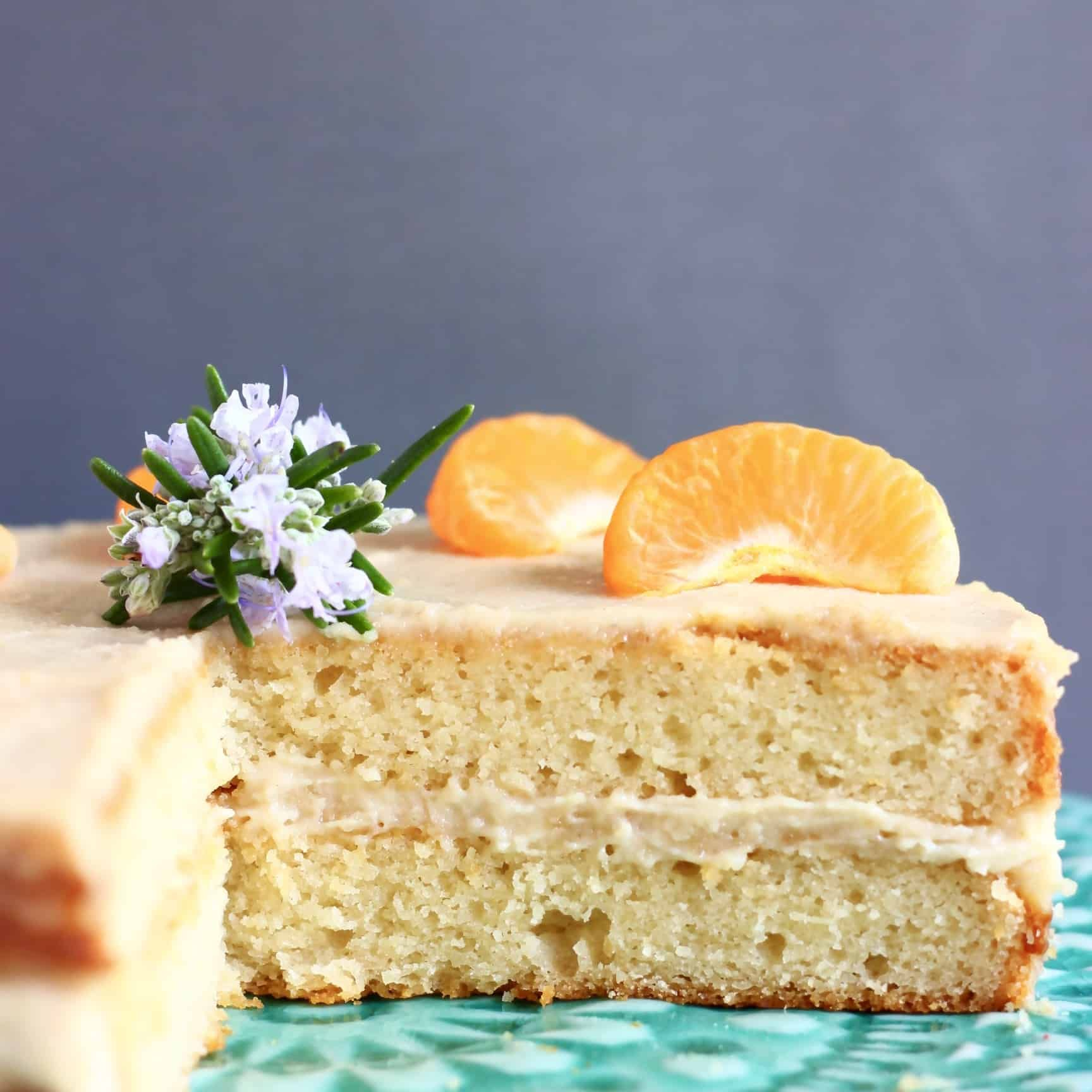 This Gluten Free Vegan Orange Cake Is Moist And Fluffy Fresh And Citrusy And Filled With A Rich Bu Vegan Gluten Free Cake Gluten Free Vanilla Cake Orange Cake