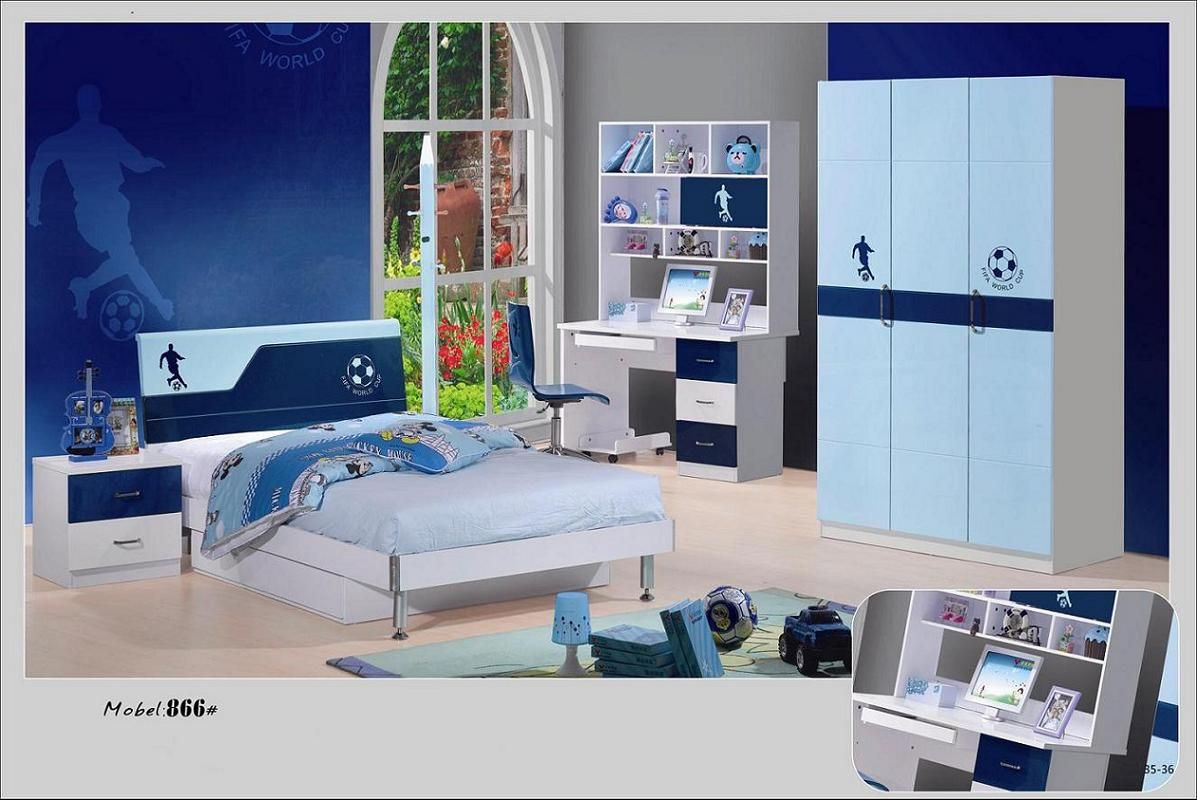 Kid Bedroom Football Pattern And Blue Furniture Set Theme Color For Your Kids How To