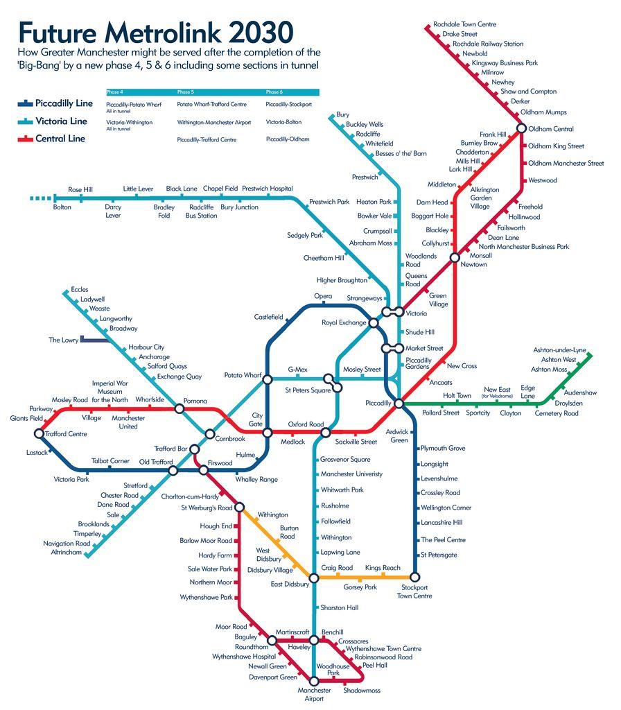 Manchester Cartina.Future Metrolink 2030 Train Map Map Manchester Metrolink