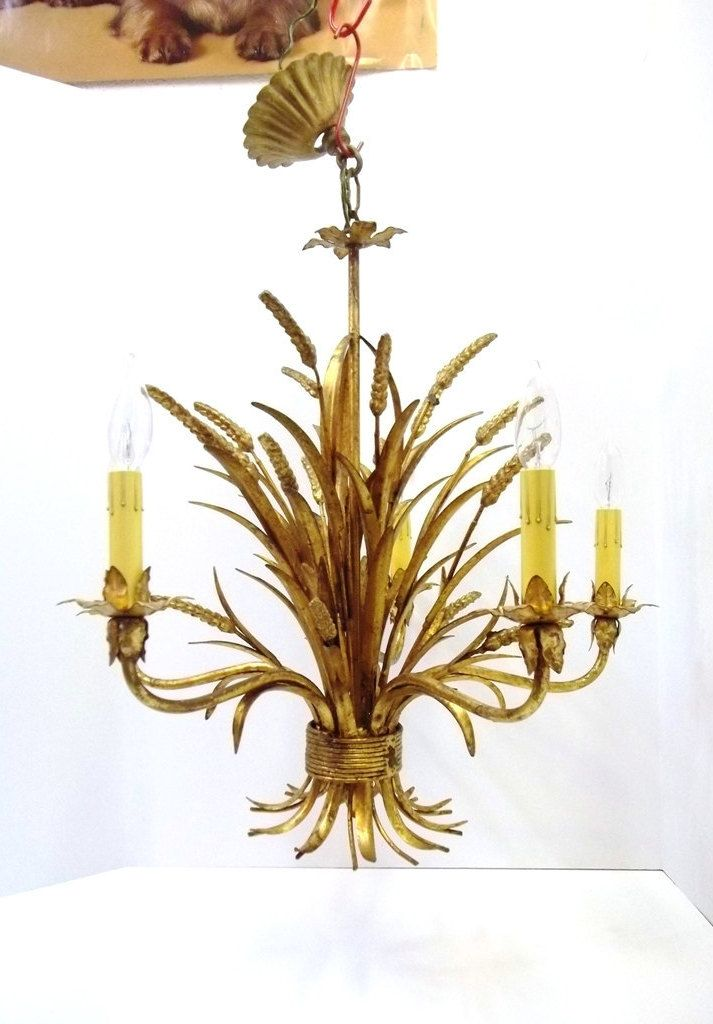 Italian Gold Gilt Wheat Chandelier Five Light Florentine Sheaf Of Wheat Tole Chandelier Hollywood Regency Mid Centu Mid Century Lighting Chandelier Old Candles