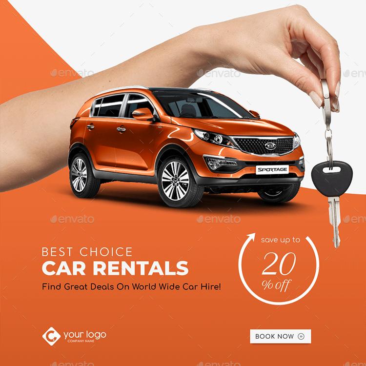 Car Rental Facebook And Instagram Banner Pack Car Advertising