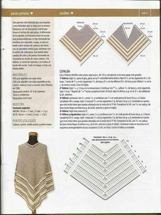 Pin de irene gomez en ponchos | Pinterest | Croché, Ganchillo y Chal