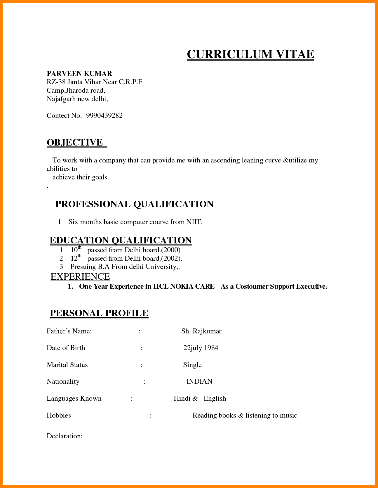 India Resume Format Download Job Resume Format Basic Resume Format
