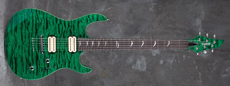 Carvin Guitars DC600M, emerald green on quilted maple (QTG), matching quilted maple headstock (QPH), deep triple step finish (DTS), natural body binding (BBE), stainless steel frets (STF), mother-of-pearl signature inlays (MPS), cream pickup coils (402)