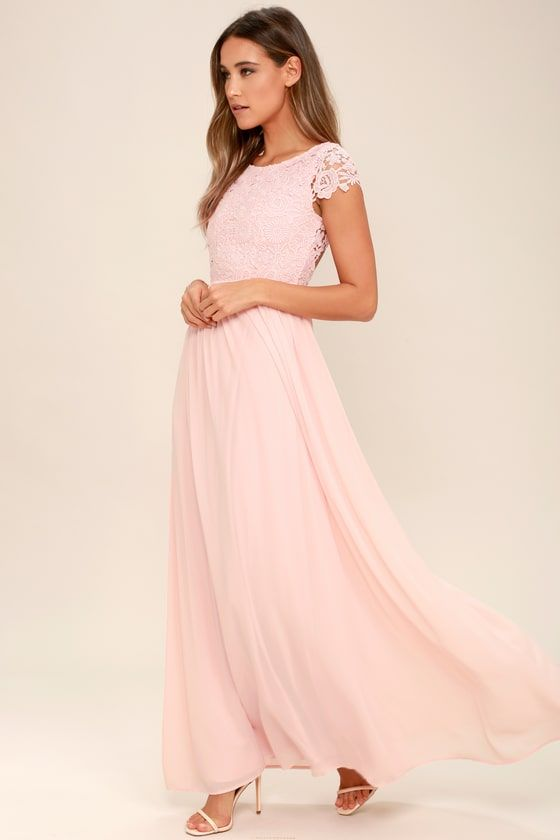 3192b7307223 The Greatest Blush Pink Lace Maxi Dress