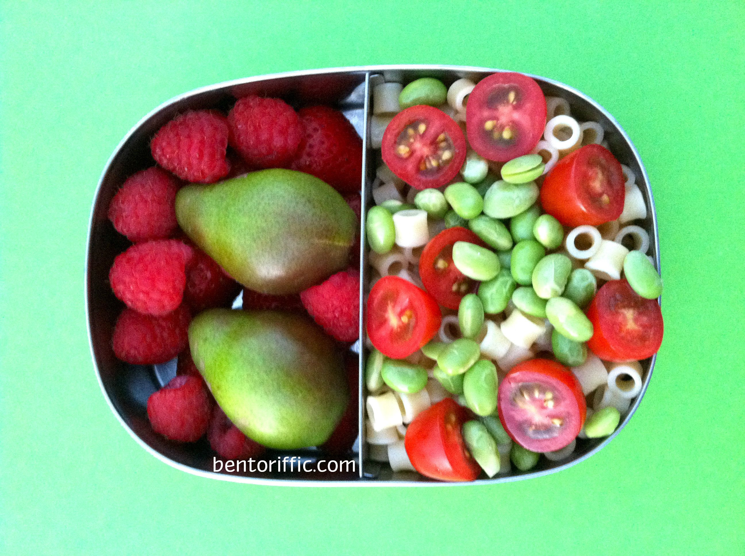 Pasta and fruit bento in @LunchBots plant based vegan lunchbox