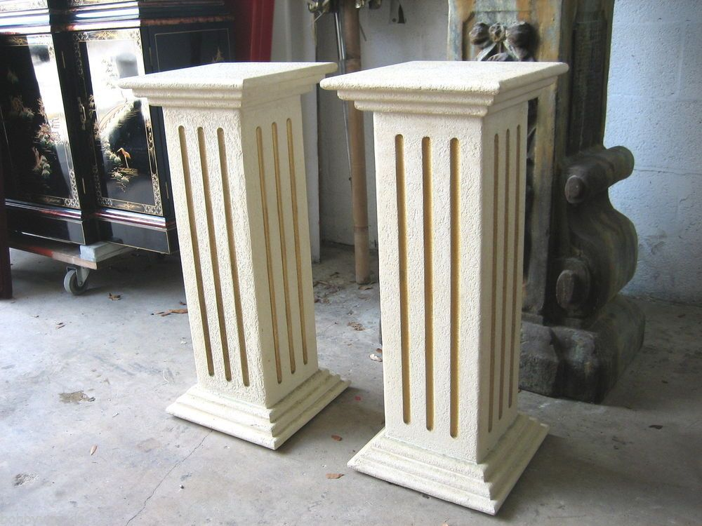 PAIR WOOD BUT TEXTURE LIKE CEMENT PEDESTAL COLUMN PLANT FIGURE - Column pedestal plant stand