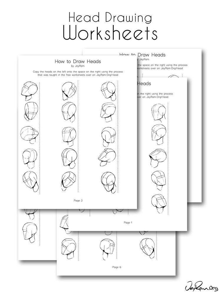 Head drawing practice from any angle practice worksheets