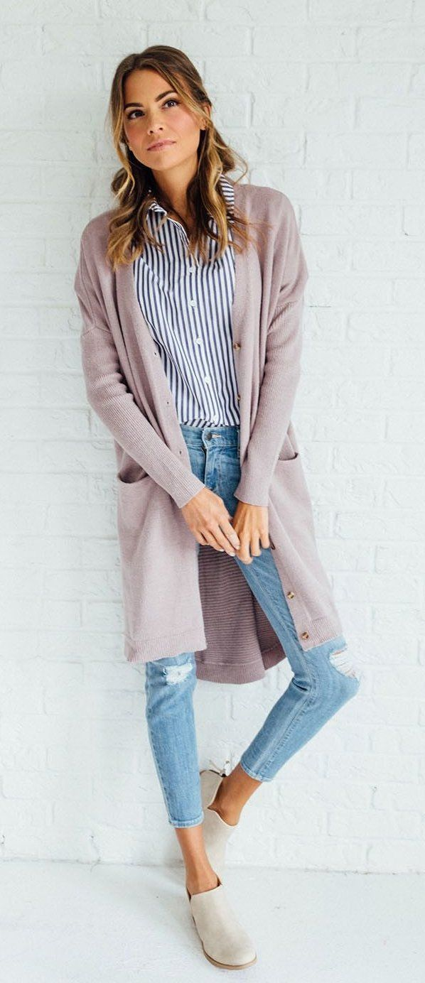 603b49df7d36 summer outfits The Lavender Cardigan + Striped Shirt + Ripped Skinny Jeans