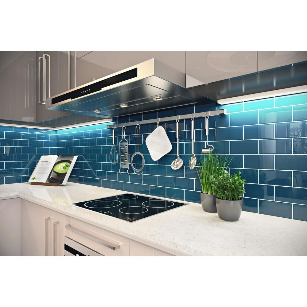 - Giorbello Dark Teal 3 In. X 6 In. X 8 Mm Glass Subway Tile (5.5 Sq