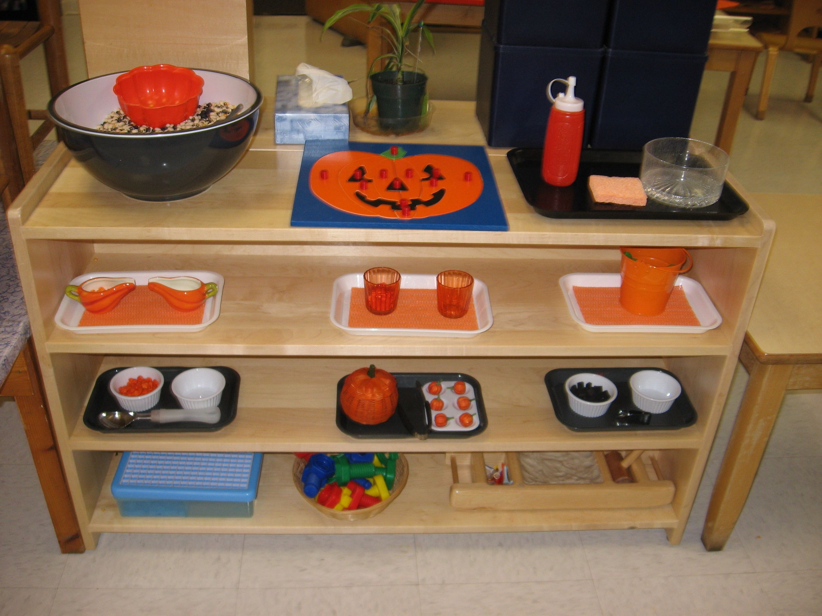 October Practical Life Combination Transfer Shelf