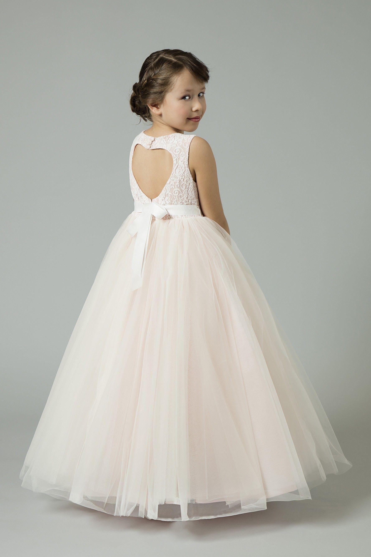 Ball gown flower girl dress with heart cutoutrk wedding