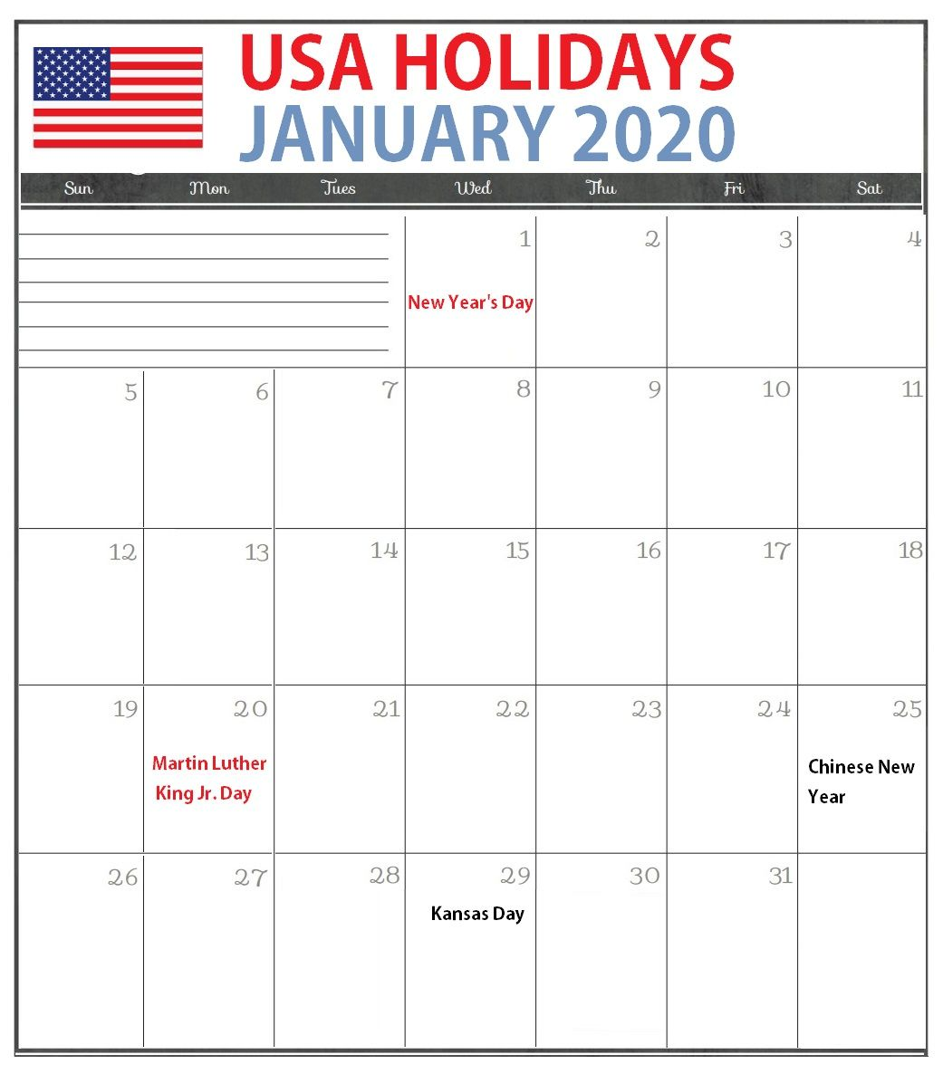 January 2020 Calendar Usa Holidays Federal National Bank