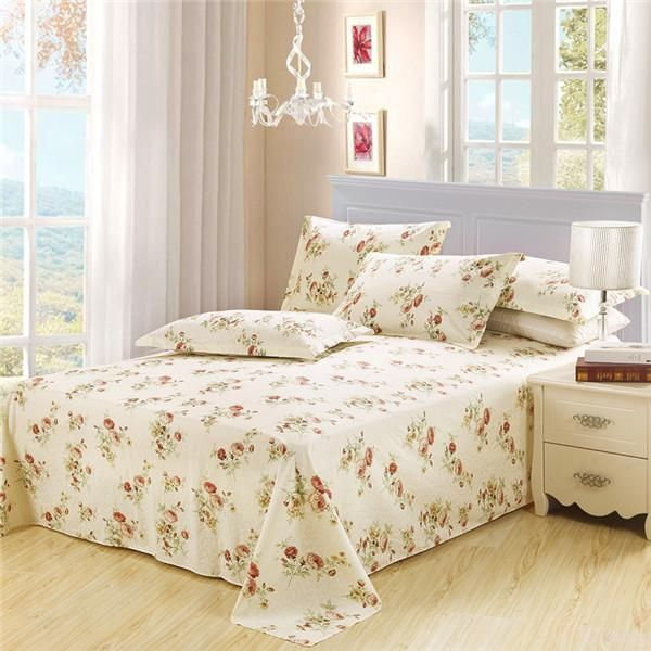 100 Cotton Bed Sheet Double Flat Sheet Pillowcase Pink White Flower Bed Linens Twin Full Queen King Size Good Quality Bedding Bed Bed Sheets Quality Bedding