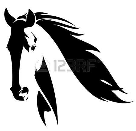 T te de cheval avec crini re de conception de vecteur noir et blanc clip art libres de droits - Clipart cheval ...