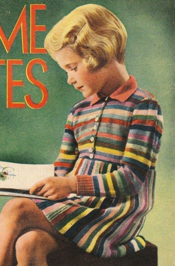 Vintage 1940s knitting pattern- little girls wartime rainbow striped ...