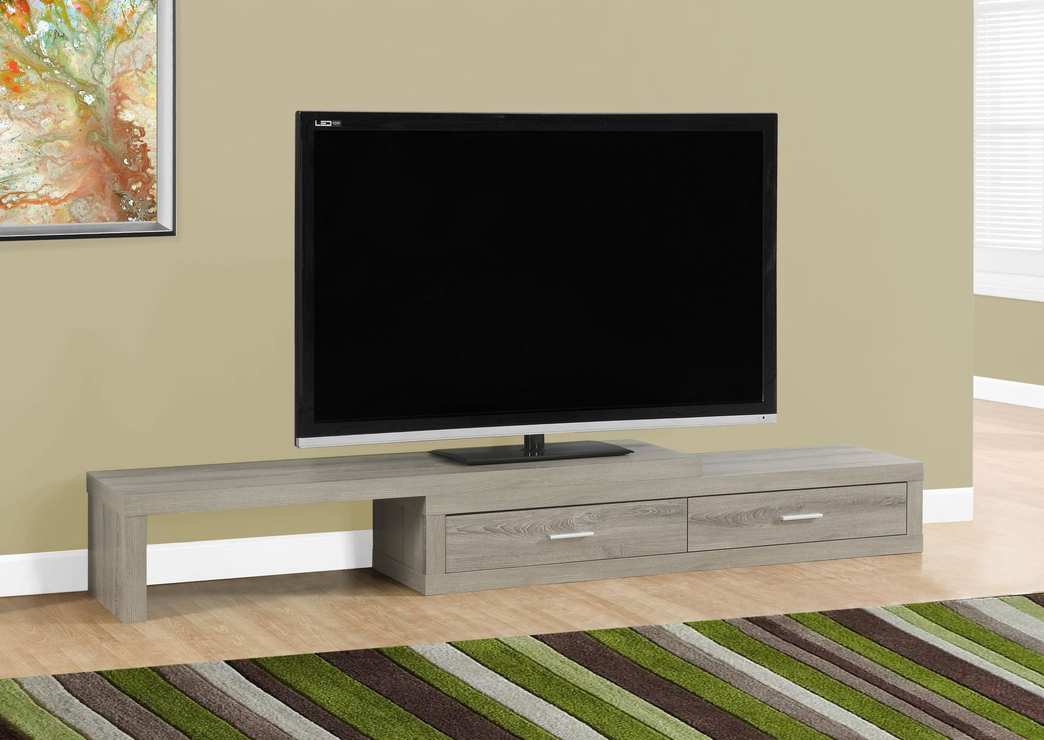 Buy Tv Stand 60 L To 98 L Expandable Dark Taupe At Harvey  # Meuble Tv Alphason
