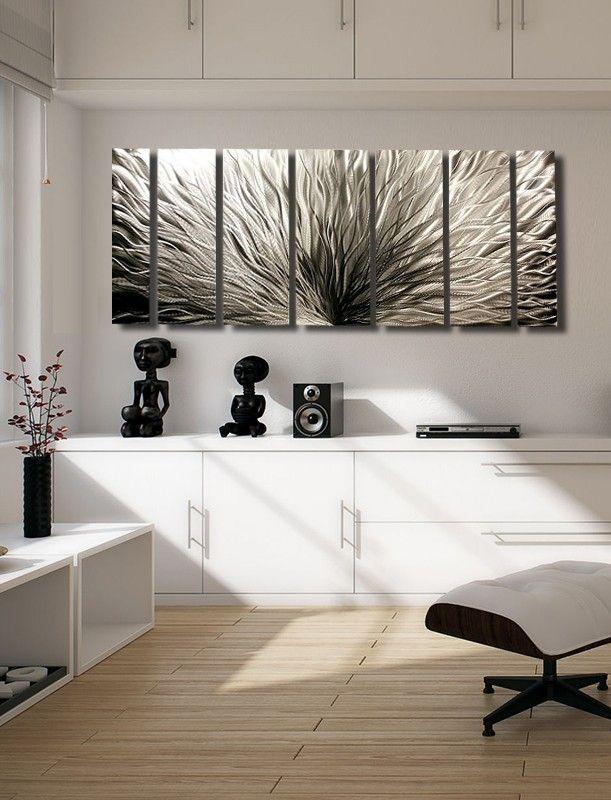 Modern abstract metal art wall sculpture silver plumage by artist jon allen