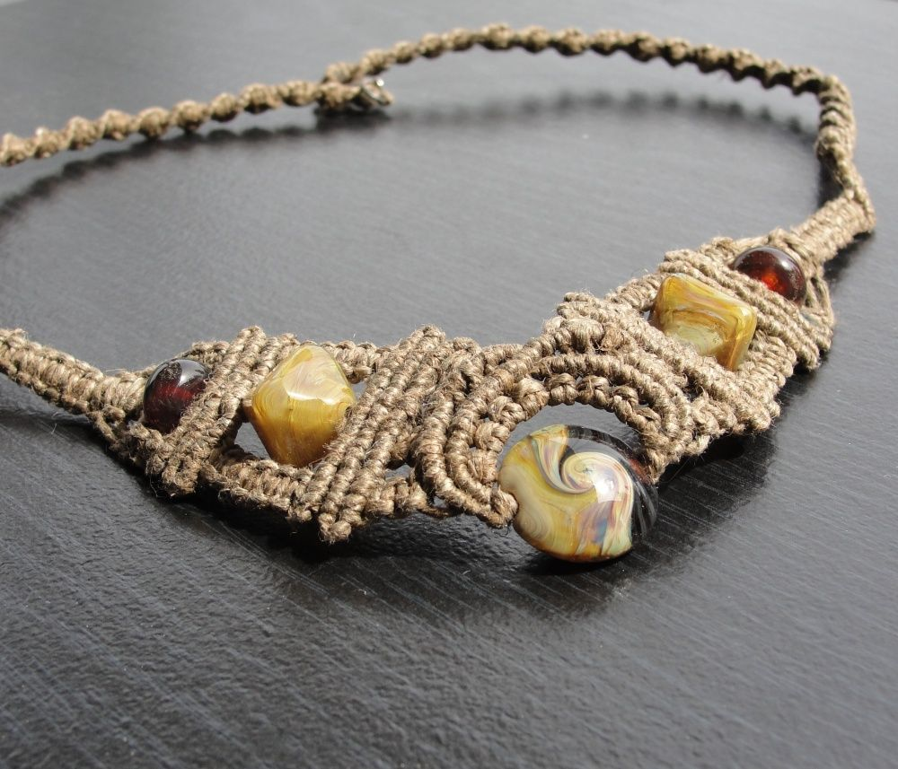 Micro macrame Hemp necklace