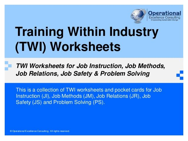 This is a collection of TWI worksheets and pocket cards for Job ...