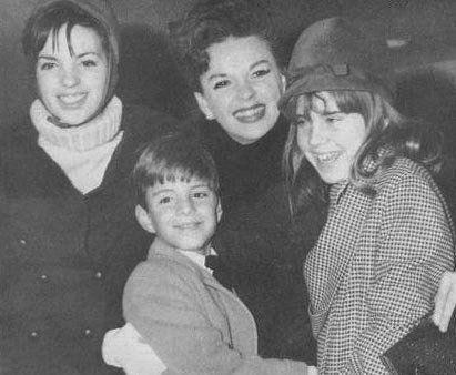 Judy Garland with her kids, Liza Minnelli, Joey Lift and