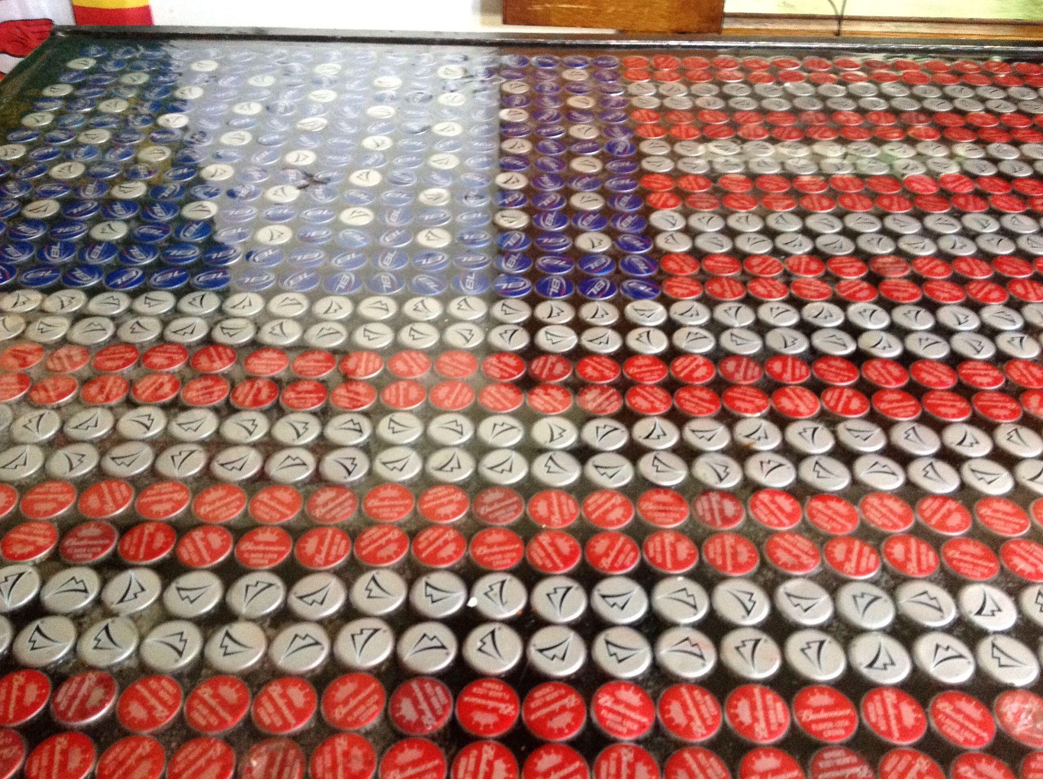 Beer cap american flag bar top epoxy bottle caps for Beer cap bar top