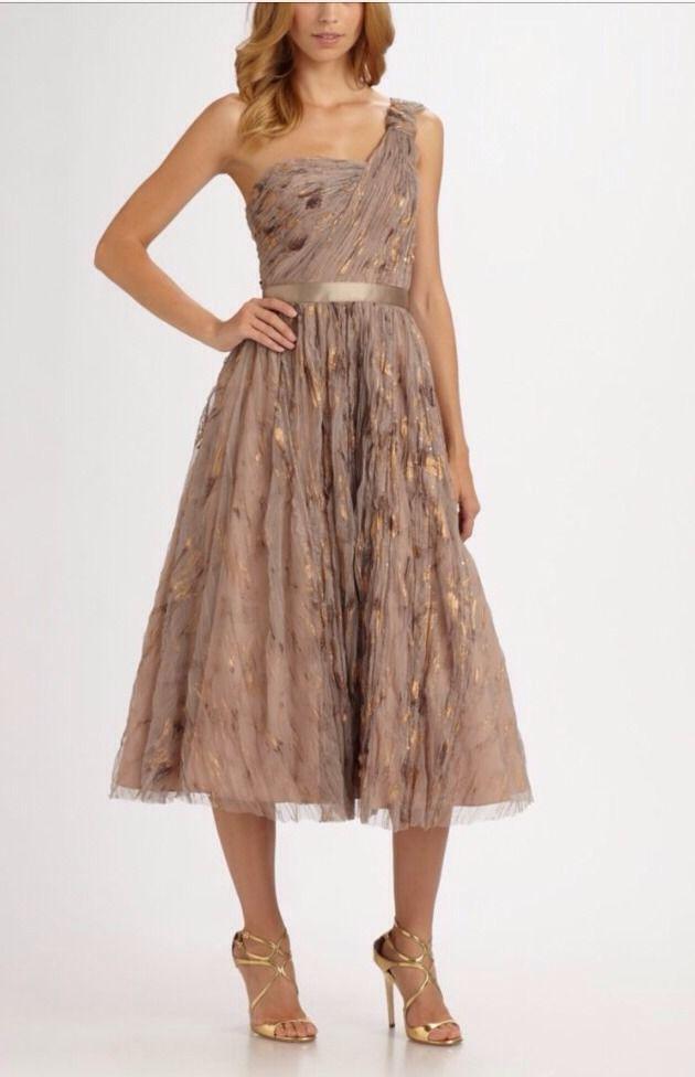 $395 AIDAN MATTOX 4 6 Tea Length A-Line Evening Cocktail Dress Brown Tan Beige #AidanMattox #OneShoulder #Formal