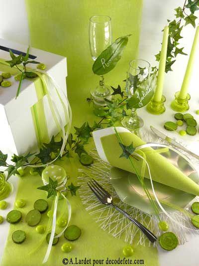 10m chemin de table sublim vert anis bonheur couleur et for Centre de table vert anis