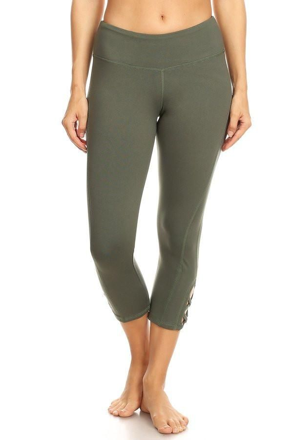 Olive hi rise legging with a side crisscross strap cutout   Olive / L Gallery