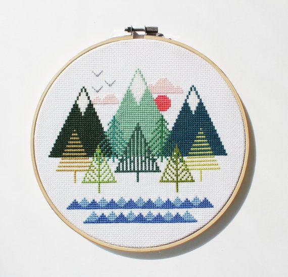 Sea to Sky - Modern counted cross stitch pattern - Instant Download ...
