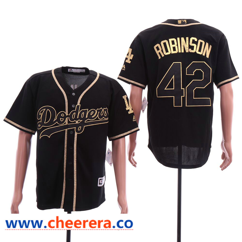Mlb Men S Los Angeles Dodgers 42 Jackie Robinson Black Gold Cool Base Jersey Dodgers Dodgers Jerseys Jackie Robinson