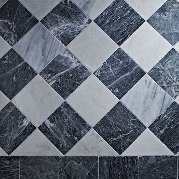 Antique European Venetian Checker Black And White Marble Tiles And Slabs